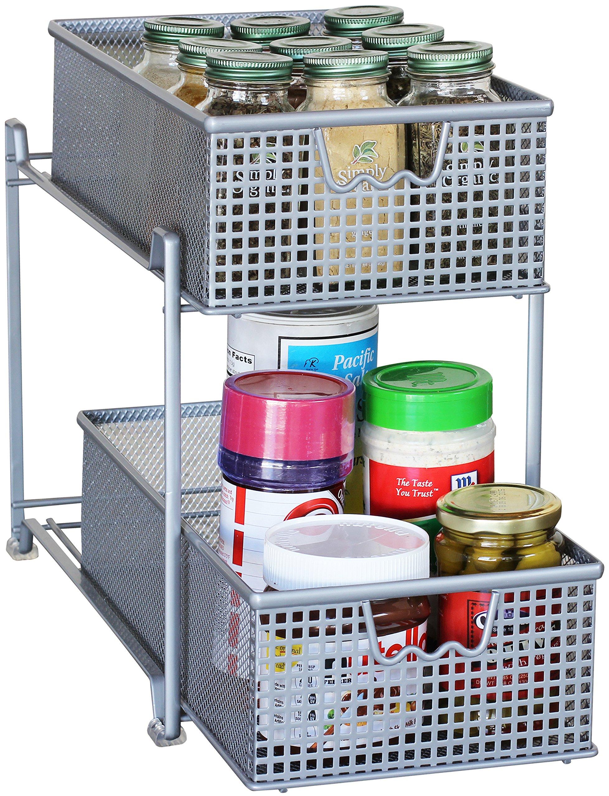 DecoBros 2 Tier Mesh Sliding Cabinet Basket Organizer Drawer,Silver