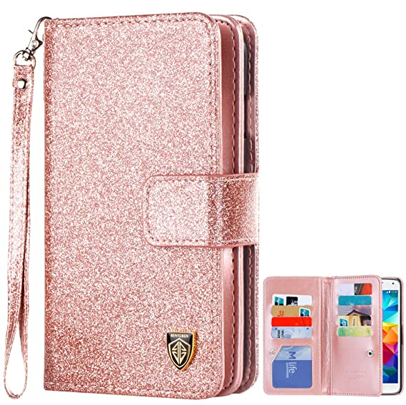 detailed look 98ac0 5dff6 Galaxy S5 Case, S5 Case, Samsung Galaxy S5 Case, BENTOBEN Glitter Sparkle  Bling Faux Leather Flip Cover Credit Card Holder Cash Pocket Wristlet ...