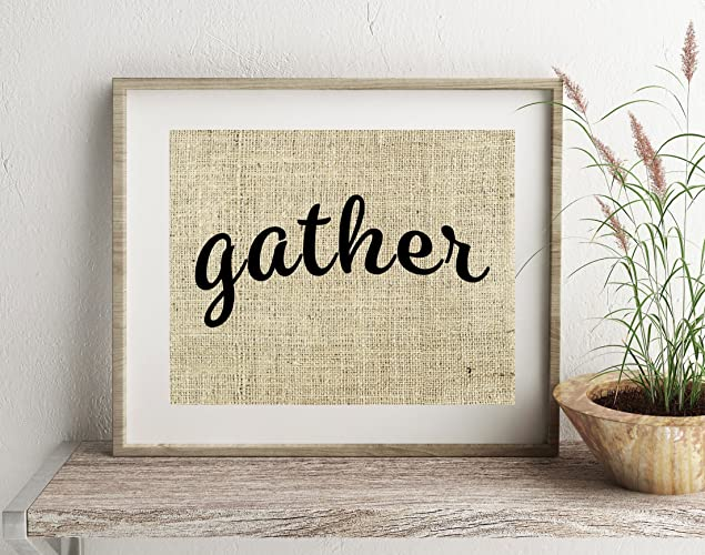 Amazon Gather Sign Wall Decor Burlap Art