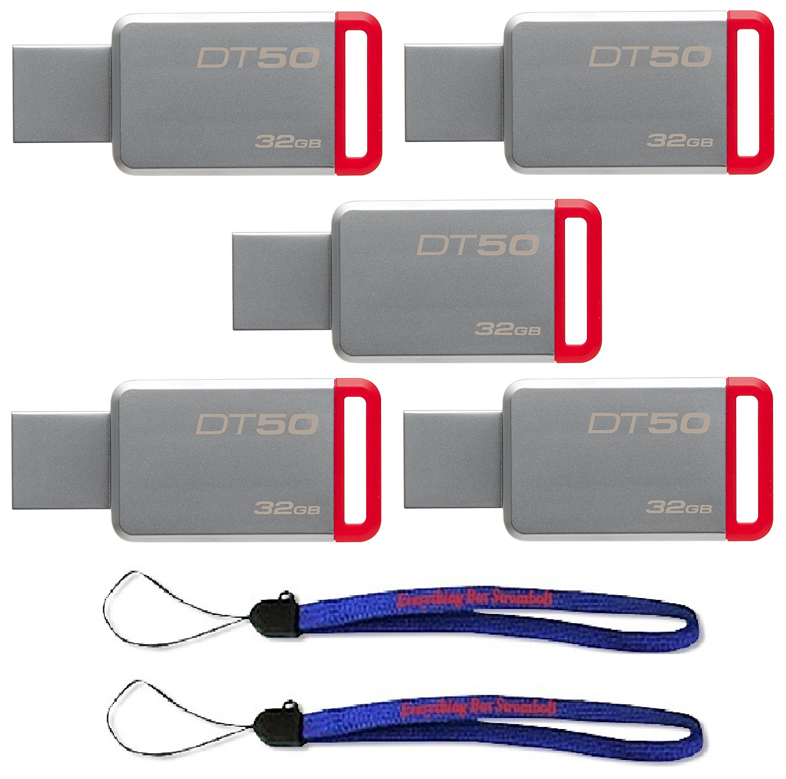 Kingston (TM) Digital 32GB (5 Pack) USB 3.0 Data Traveler 50 Flash Drive DT50, 110MB/s Read, 15MB/s Write Speed with (2) Everything But Stromboli (TM) Lanyard (DT50/32GB)