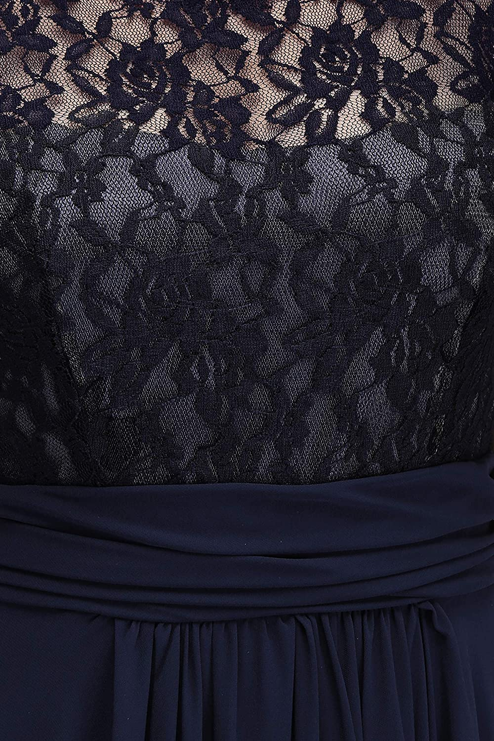 Evening Dress Sleeveless Lace Chiffon Evening Dresses Long Party Dresses Formal Gown,Navy Blue,6