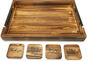 Wooden Ottoman Tray - Farmhouse Decor - Coffee Table Decoration - Serving Tray - Snack Platter - Breakfast in Bed - Rustic Wood - 4 Pc Coasters Included - Sturdy Handles - Coffee/Tea Bar - Antique