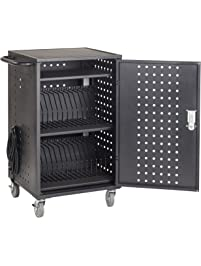 ECR4Kids 30-Bay Locking Laptop and Tablet Charging Station Cart with Keypad Entry, Computer Charging Station Cabinet...