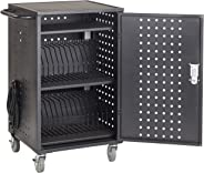 ECR4Kids 30-Bay Locking Laptop and Tablet Charging Station Cart with Keypad Entry, Computer Charging Station Cabinet, Secure