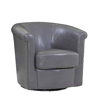 Swell Grafton Madison Faux Leather Swivel Barrel Chair One Size Grey Ibusinesslaw Wood Chair Design Ideas Ibusinesslaworg