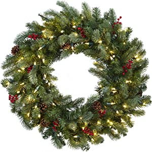 Nearly Natural Lighted Pine Wreath with Berries & Pine Cones, 30