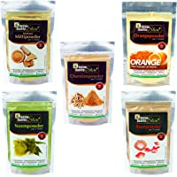 Online Quality Store Multani Mitti, 200g with Chandan Powder, 50g, Orange Peel Powder, 50g, Neem Powder, 50g and Rose Powder, 50g, Multicolor
