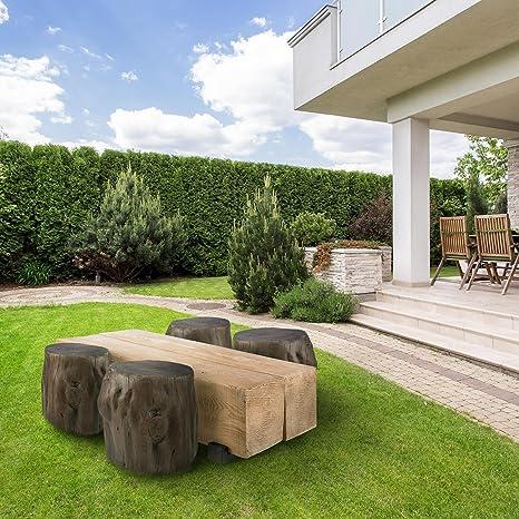 Blumfeldt Blockhouse Lounge Mesa de viga • 120x30x60 cm • para Interior y Exterior • 2 macizos ortoedros de Madera • Cemento inmine a Intemperie • Jardín o ...