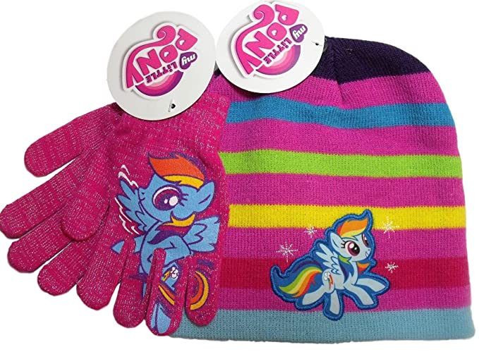 e7cc2a9e6 Amazon.com: My Little Pony Pink Multicolor Stripe Knit Beanie Hat ...