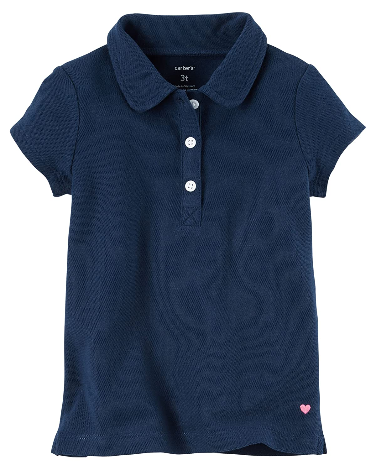 Navy, 6 Kids Carters Girls Short Sleeve Knit Polo
