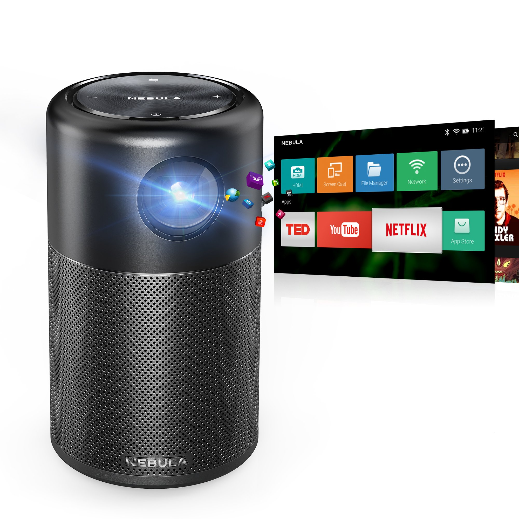Nebula Capsule Smart Pico Projector, by Anker, Portable 100 ANSI lm High-Contrast Pocket Cinema with Wi-Fi, DLP, 360° Speaker, 100'' picture, Android 7.1, 4-Hour Video Playtime, and App