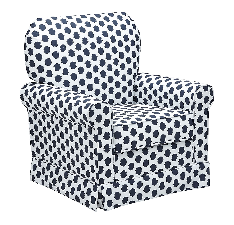 Storkcraft Polka Dot Upholstered Swivel Glider, White/Navy, Cleanable Upholstered Comfort Rocking Nursery Swivel Chair Stork Craft Manufacturing 06562-41V