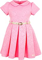 Lilax Little Girls' Flocked Occasion Dress with Shimmer Belt