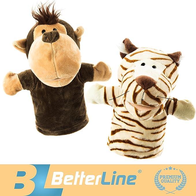 Amazon.com: Betterline - Marionetas de mano de animales (2 ...