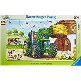 Ravensburger - 06044 - Puzzle Enfant avec cadre - Tracteur à la Ferme - 15 Pièces