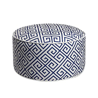 Art Leon Outdoor Inflatable Ottoman Blue Round Patio Footstool for Kids and Adults, Patio, Deck, Front Porch, Backyard, Garden