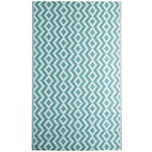 iCustomRug Oudoor Rug Collection – Aztec Aqua Blue 5 X8 Reversible Picnic and Beach Area Rug, Perfect for Patio, Camping, BBQ More