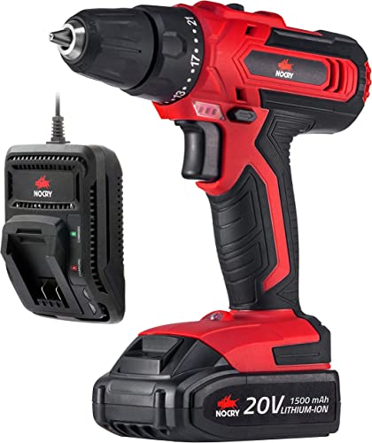 NoCry 20V Cordless Drill Driver – 266 in-lb 30 N.m Max Torque, 2 Gear Speeds Max 1400 RPM , 3 8 inch Chuck, 21 1 Clutch Positions, LED work light 1.5 Ah Battery Fast Charger Included Kit