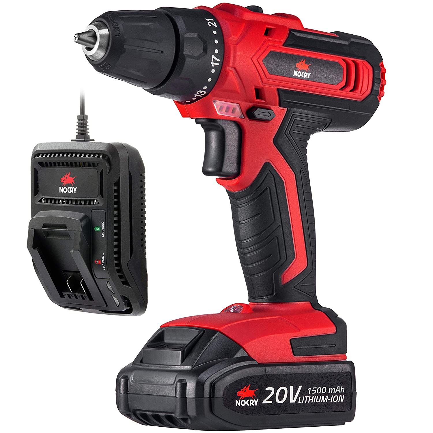 NoCry Cordless Drill Driver Kit – 266 in-lb 30 N.m Max Torque, 2 Gear Speeds Max 1400 RPM , 3 8 inch Chuck, 21 1 Clutch Positions, LED work light 20V 1.5 Ah Battery Fast Charger Included