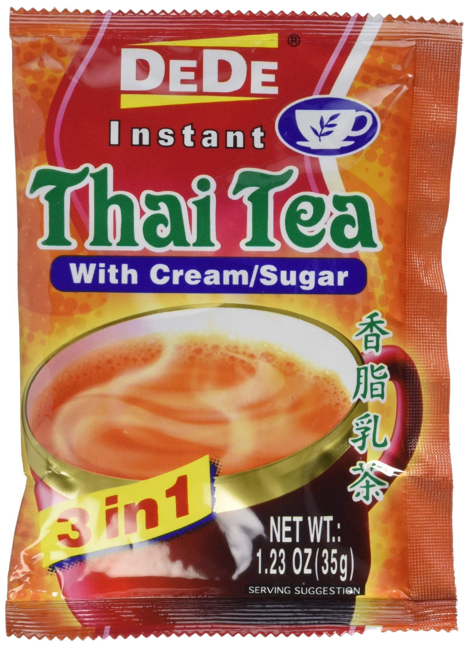 DEDE Instant Thai Tea Drink with Cream and Sugar - 12 Pockets by Pier Mall