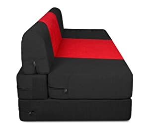 Beanbagwala Spaces Therapy Zeal 3 Seater Sofa Bed with Bean Bag Cover (Black and Red, 5x6ft)