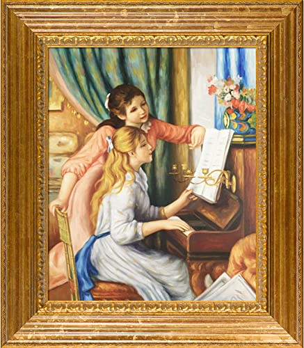 overstockArt Young Girls at The Piano Framed Oil Reproduction of an Original Painting by Pierre Auguste Renoir, Vienna Wood Frame, Gold Leaf Finish
