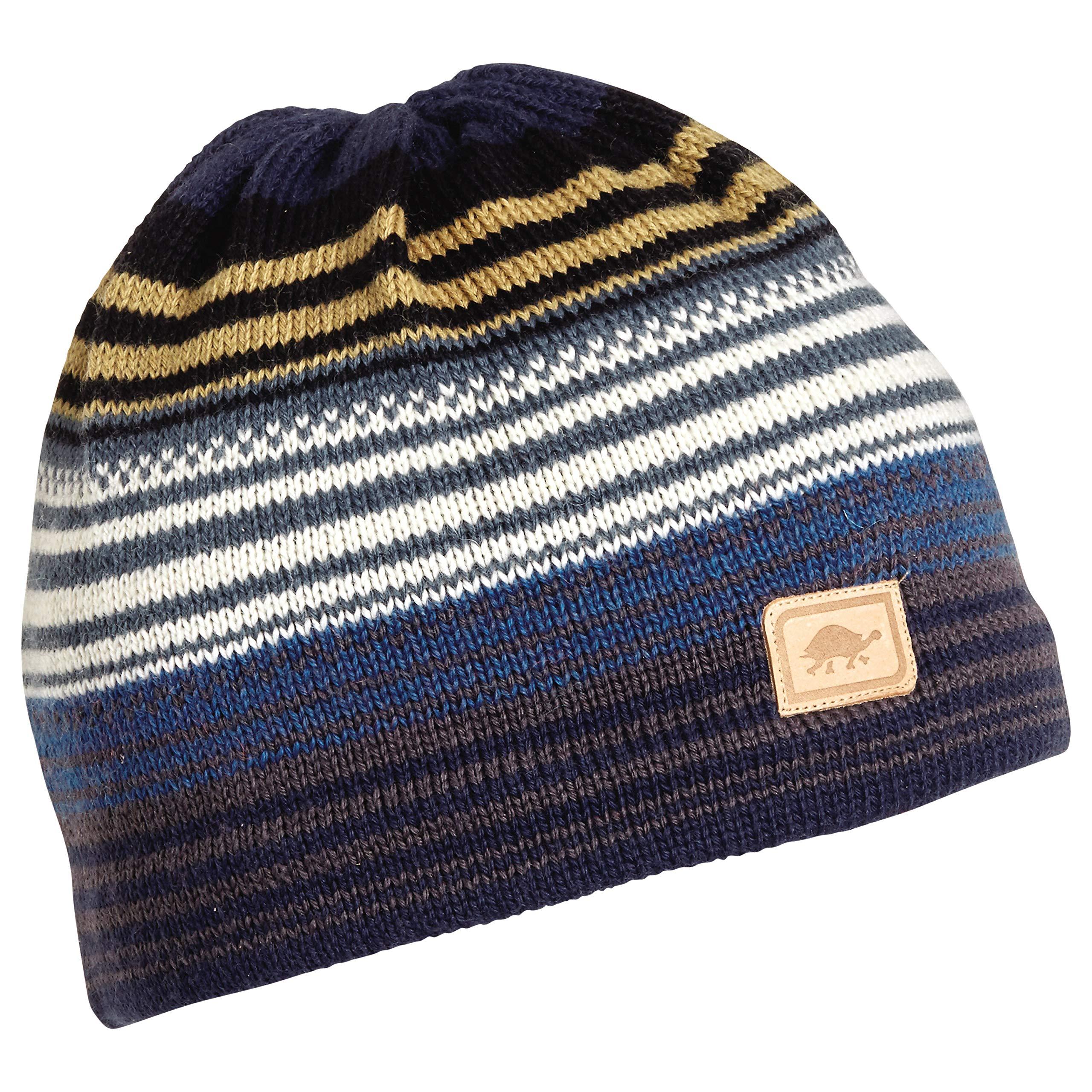 Turtle Fur Aslan, 100% Wool Knit Classic Ski Hat Striped Beanie, Ink