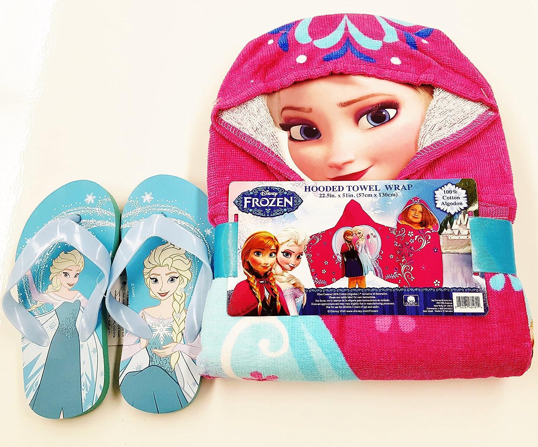 f35a568f4fa3 Amazon.com   Disney Frozen Hooded Towel   Flip Flop Bundle (5 6 ...