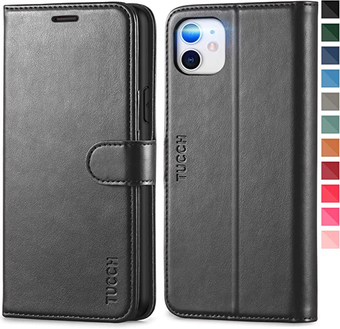TUCCH iPhone 11 Case, iPhone 11 Wallet Case with [RFID Blocking] Card Slots Stand Magnetic Closure, Protective PU Leather [Shockproof TPU] Flip Cover Compatible with iPhone 11 (2019 6.1 inch), Black