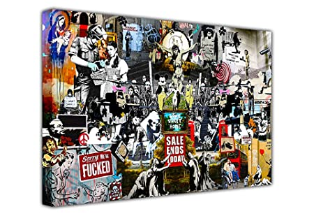 large banksy print canvas collage prints mix graffiti best of banksy