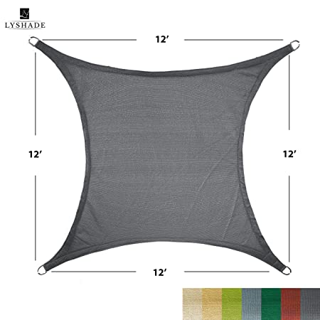 LyShade 12 x 12 Square Sun Shade Sail Canopy Cool Grey – UV Block for Patio and Outdoor