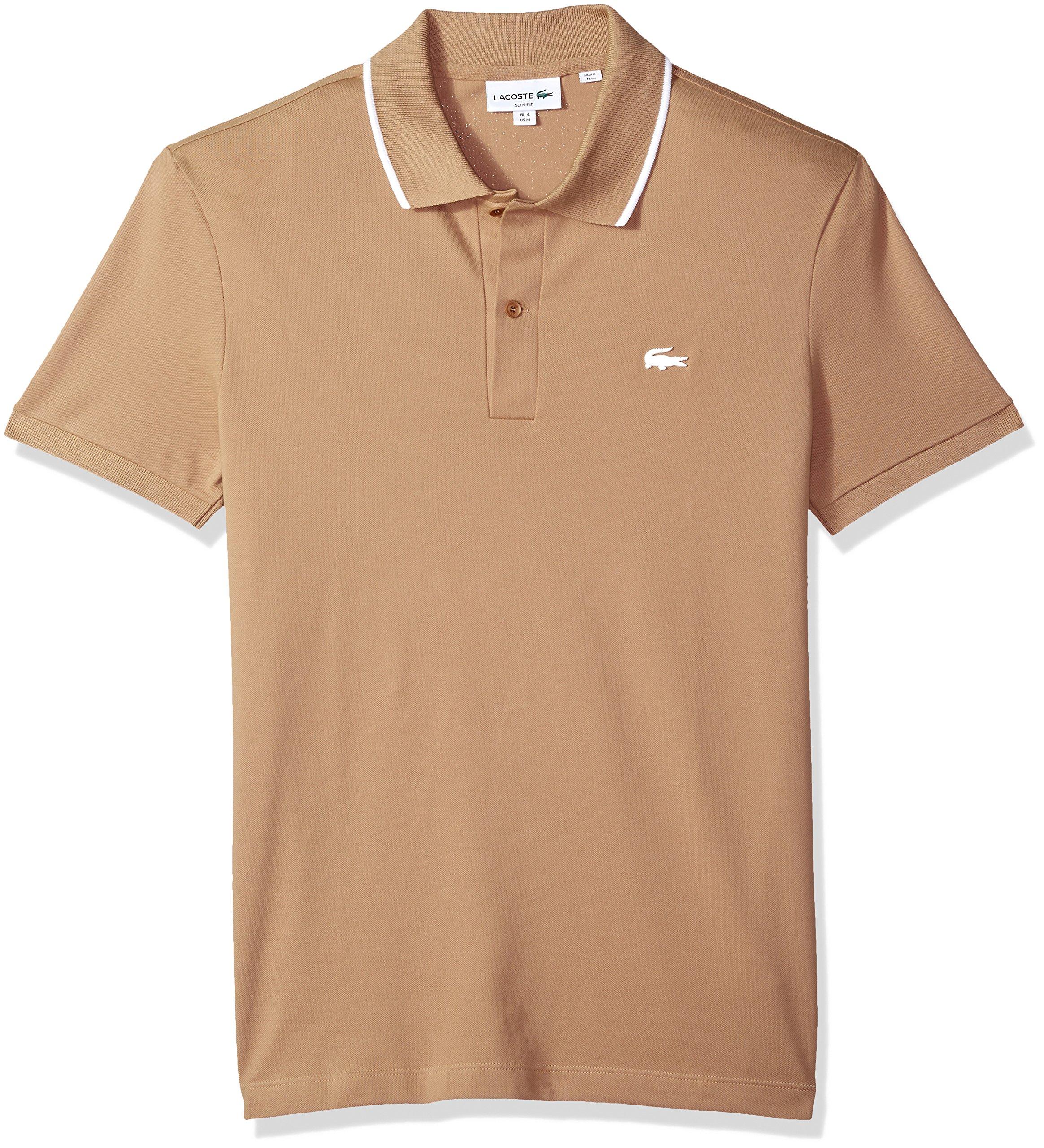 Lacoste Men's Short Sleeve Semi Fancy Stretch Pique Slim Polo, Ph3155, Kraft Beige/White, 9