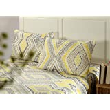 Tache Colorful Yellow Grey Print Floral Reversible Lightweight Quilted Bedspread Set (Queen, Desert Diamonds)