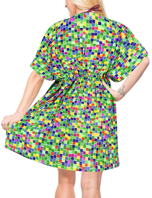 LA LEELA Robes de Plage Grande Taille Tunique Pull Femme Cordon de serrage Kimono Boh/ême Mode Mousseline de soie Bikini Cover Up Blouse Maillot De Bain Caftan Sarong Pareo /Ét/é Chemisier Haut Top Beach