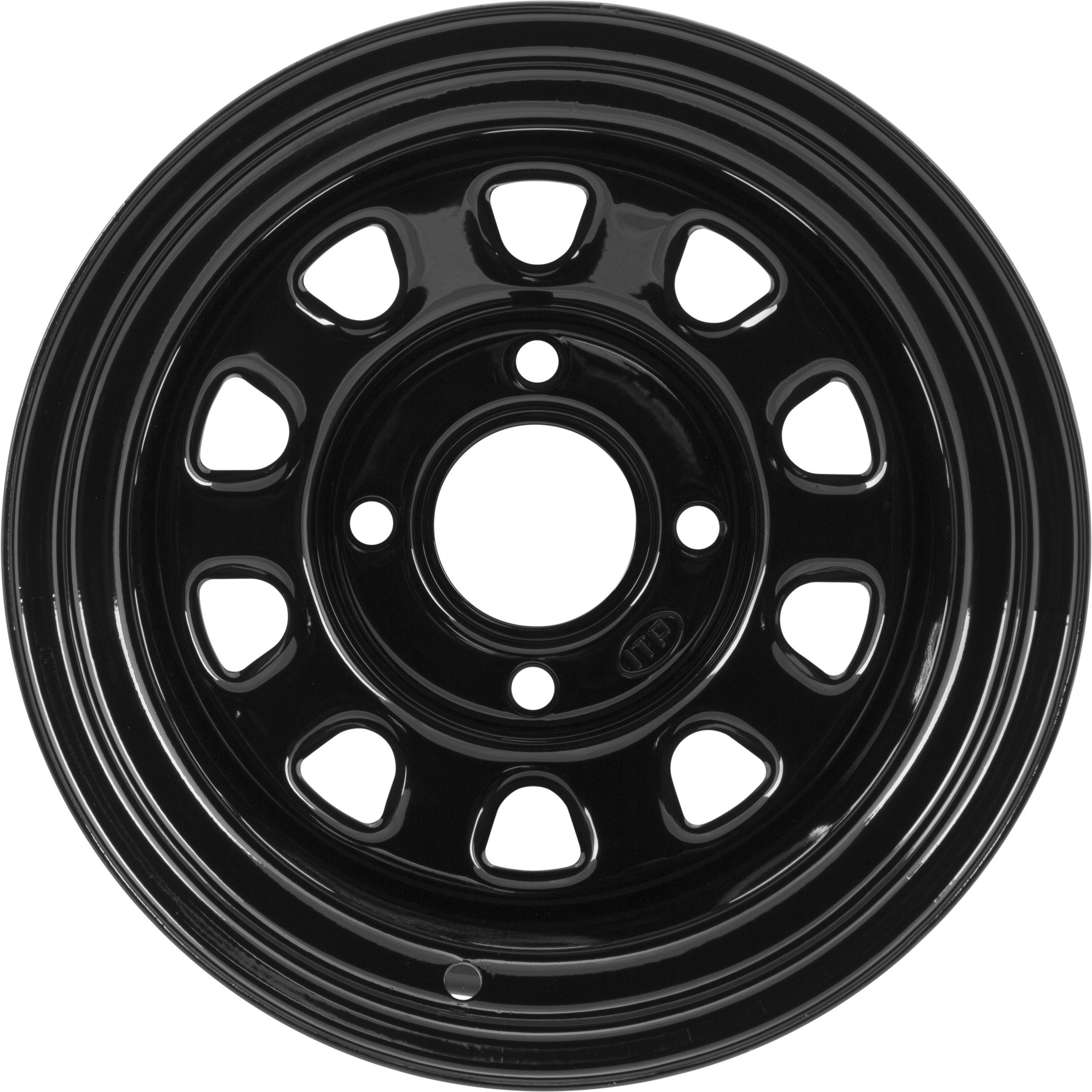 ITP Delta Steel Black Wheel with Machined Finish (12x7''/4x4mm)