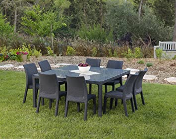 Attractive Keter Fiji Dining Table Modern All Weather Patio Garden Outdoor Furniture  Square, Charcoal