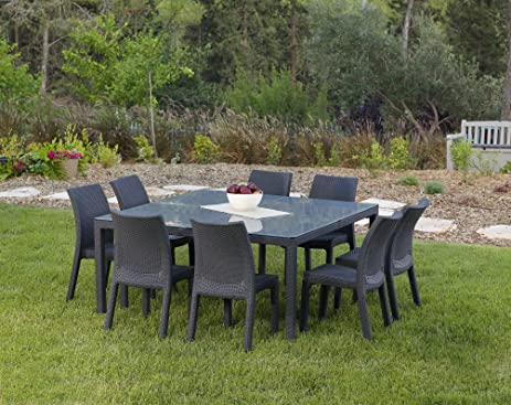 Delightful Keter Fiji Dining Table Modern All Weather Patio Garden Outdoor Furniture  Square, Charcoal