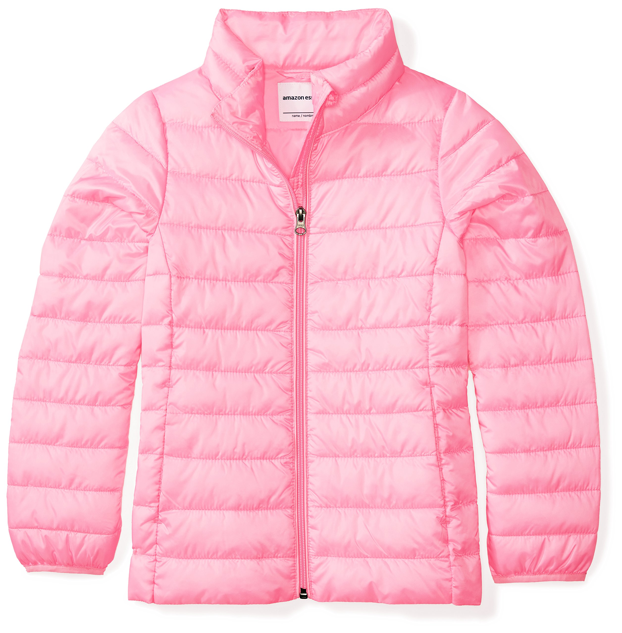 Amazon Essentials Girls' Lightweight Water-Resistant Packable Puffer Jacket, Neon Flamingo Pink, Medium by Amazon Essentials