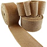 Burlap Wired Ribbon - Natural Jute Fabric Ribbon Roll for DIY Crafts or Wedding Decorations - 10 Yards Long, 2.5 Inches Wide (2 rolls)