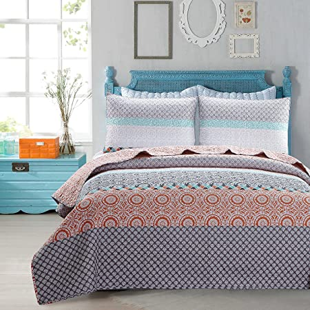 Skipper Furnishings Quilted and Reversible Microfibre Double Bed Spread and 2 Pillow Covers - Multicolour