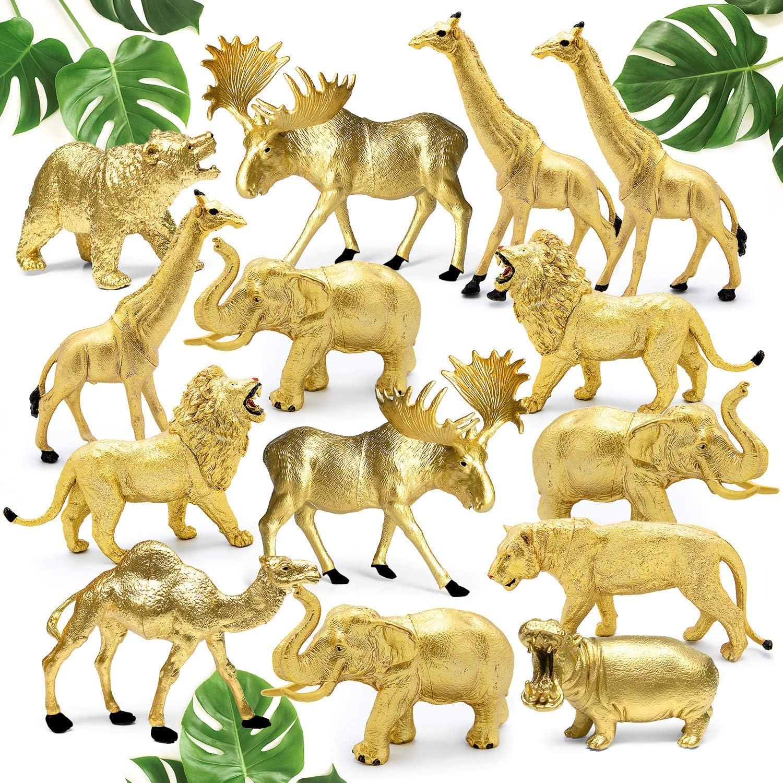 Shopperals 14 Jumbo Metallic Gold Plastic Safari Animal Set - Different Varieties of Zoo Animals, 3 Elephant 3 Giraffe 2 Lion 2 Elk 1 Tiger 1 Hippo 1 Bear 1 Camel, 4-6 Inches, with Bonus Storage Bag.