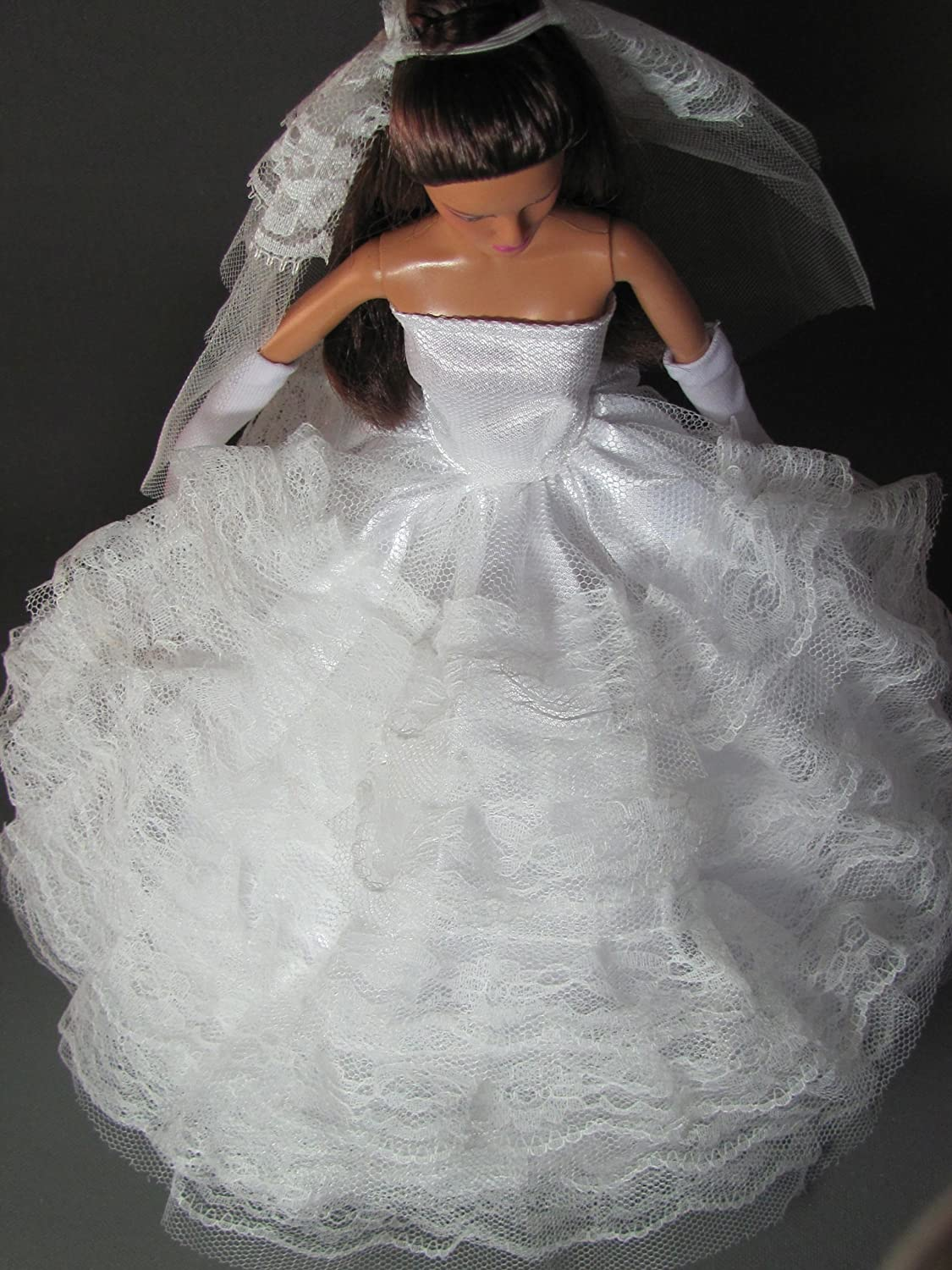 Veil Princess Details about  /Clothes for Barbie Doll White Wedding Lace Dress Layered Gown