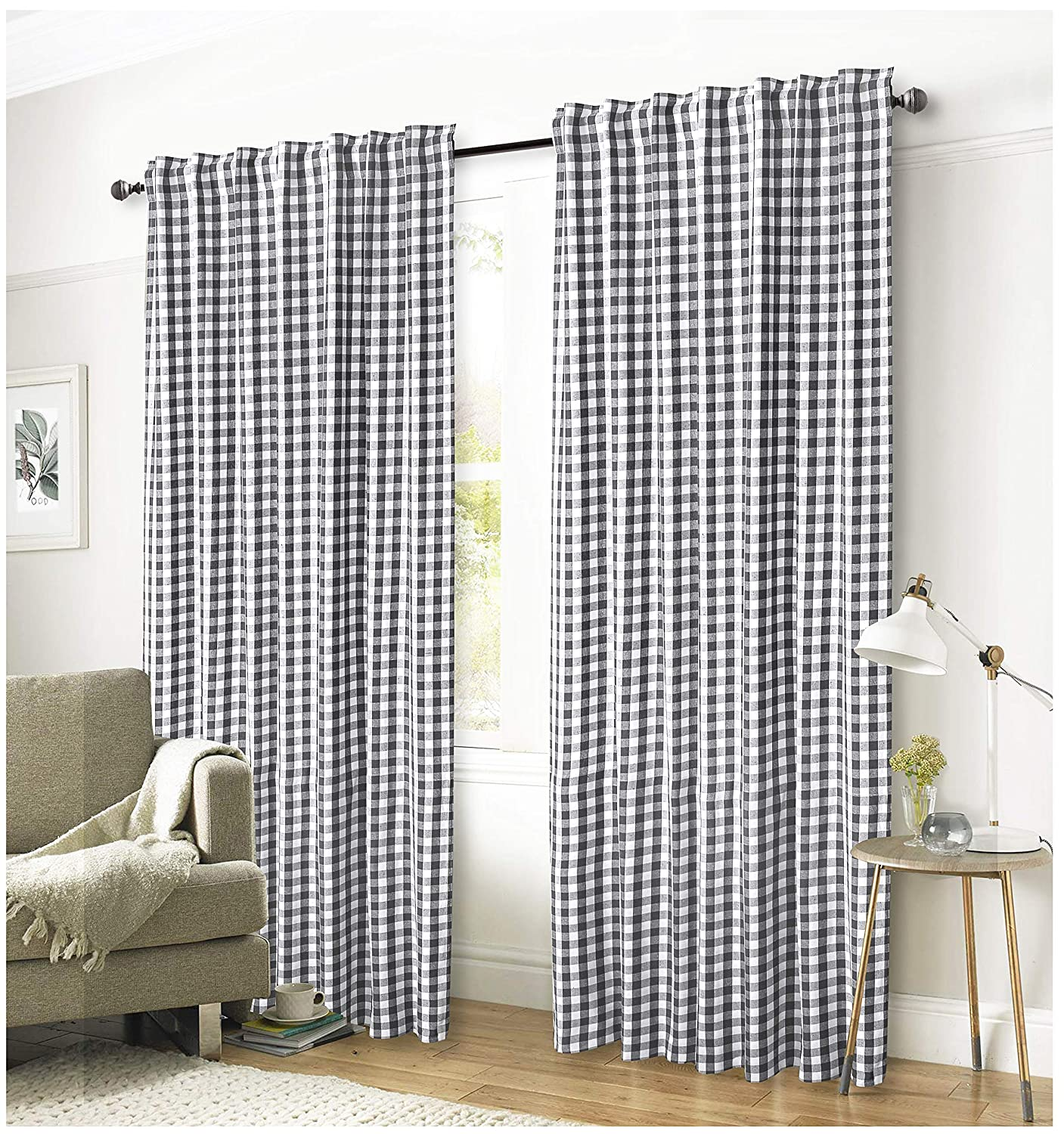 Ramanta Home Gingham Check Window Curtain Panel, 100% Cotton, Charcoal/White, Cotton Curtains, 2 Panels Curtain, Tab Top Curtains, 50x96 Inches, Set of 2