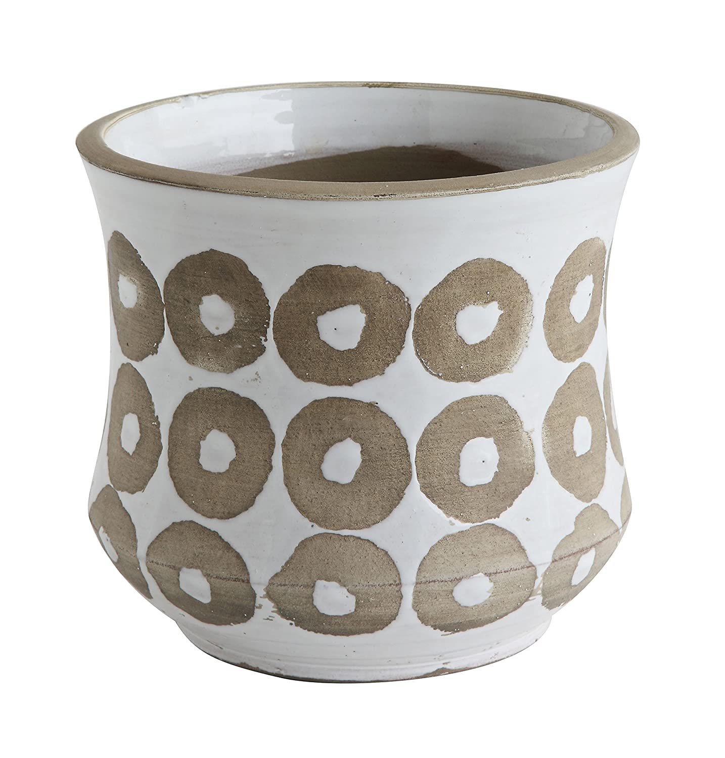 Creative Co-op Terra-Cotta Pot with White Circle Pattern