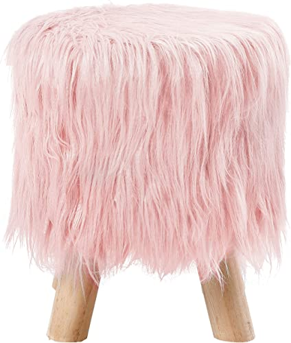 BirdRock Home Pink Faux Fur Foot Stool Ottoman Soft Compact Padded Seat – Living Room, Bedroom and Kids Room Chair Natural Wood Legs Upholstered Decorative Furniture Rest Vanity Seat