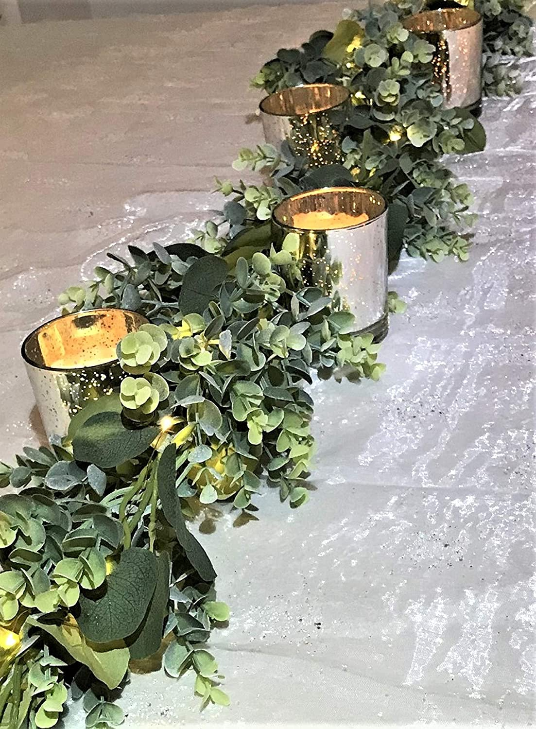 Smancy Eucalyptus Garland Greenery with Fairy Lights battery operated Rustic Wedding Decor Artificial Silver Dollar Eucalyptus Greenery Garland for Wedding Arch Table Runner Events Farmhouse Mantle 6'