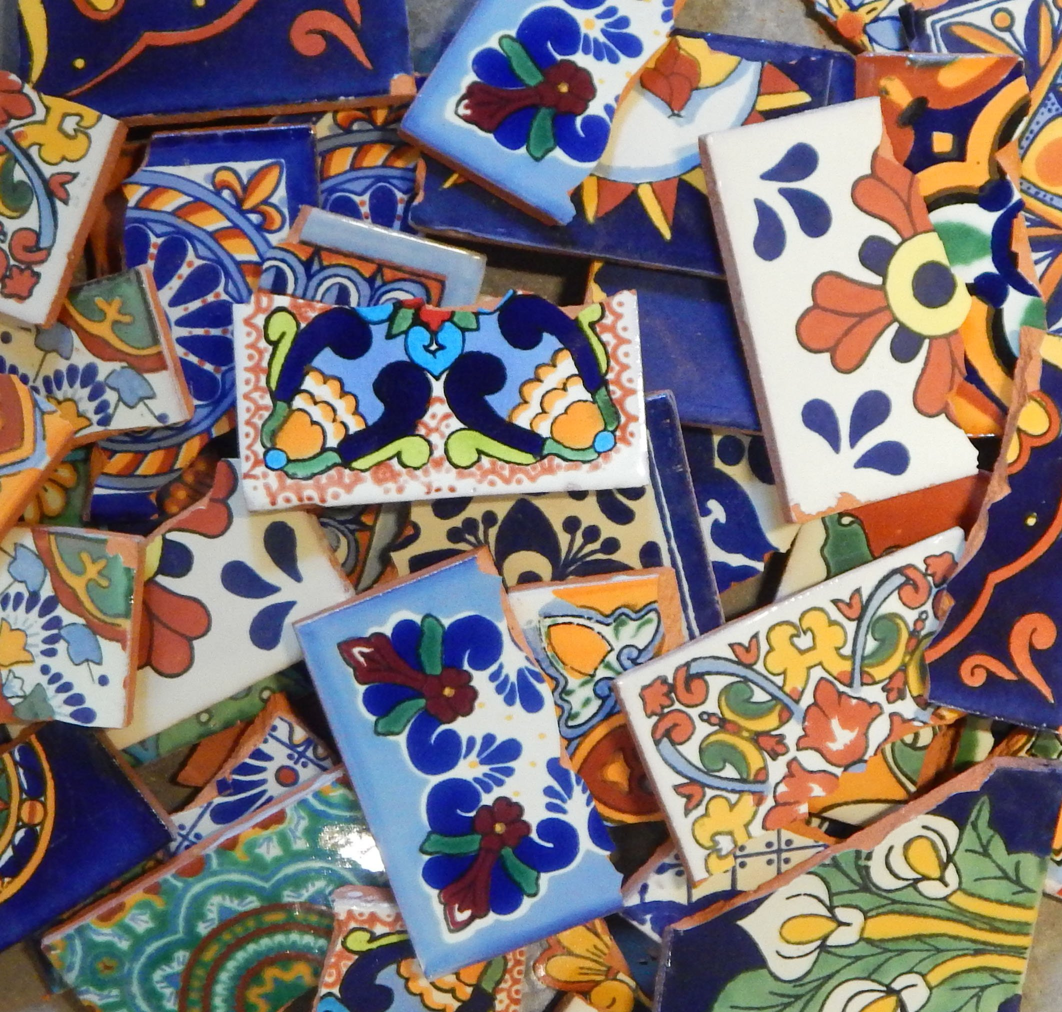 Broken Mexican Talavera Tiles Handmade Mix Designs 10 Pounds