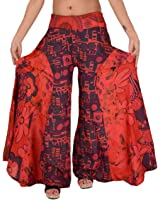 Women New Plazo Pant Cotton Printed Slacks Solid Wide Leg Elephant Gaucho