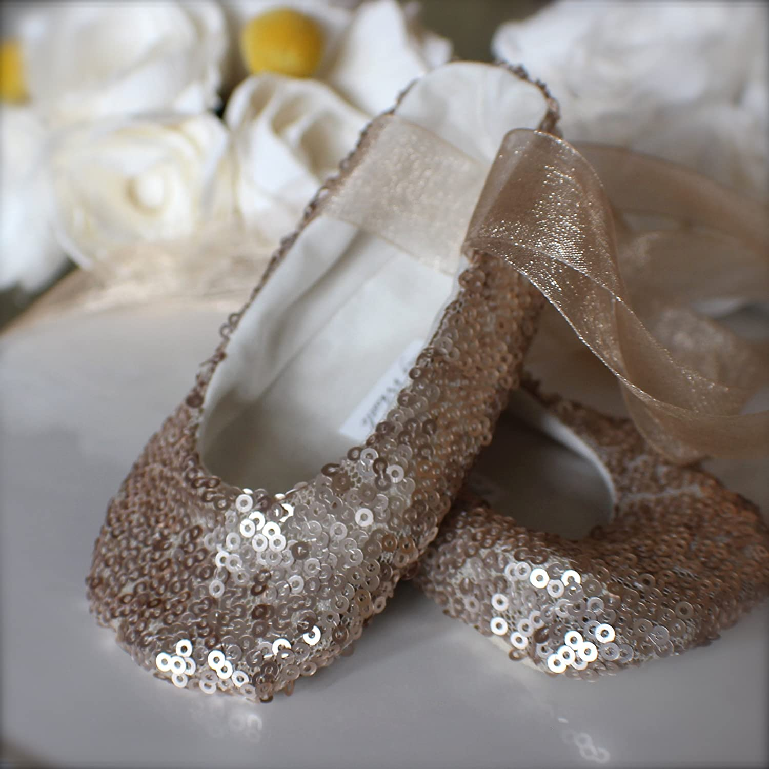 d10f7219f58aa Amazon.com: Gold, Pink, or White Sequin Ballet Slippers, Flower Girl ...