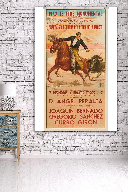 Amazon.com: Plaza de Toros Monumental Vintage Poster (artist: Reus) Spain c. 1957 (36x54 Giclee Gallery Print, Wall Decor Travel Poster): Posters & Prints